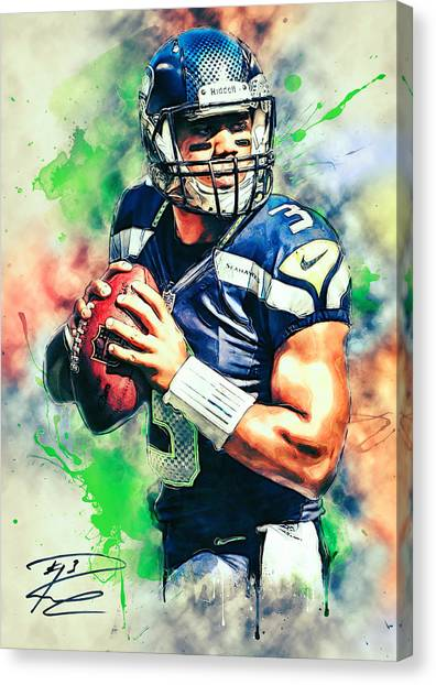 Seattle Seahawks Canvas Print - Russell Wilson by Zapista