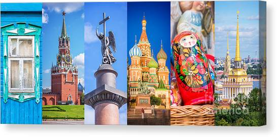 Moscow Canvas Print - Russia Collage by Delphimages Photo Creations