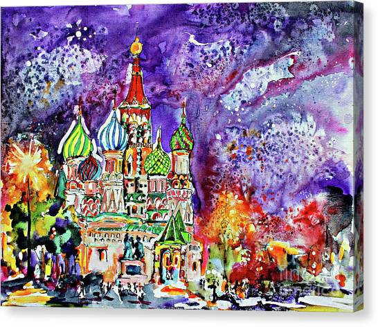 Russia Saint Basil Cathedral Watercolor And Ink Painting Canvas Print