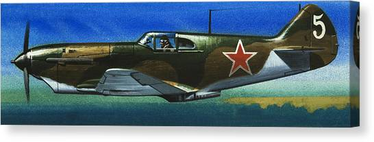 Blue Camo Canvas Print - Russian Lavochkin Fighter During World War Two by Wilf Hardy