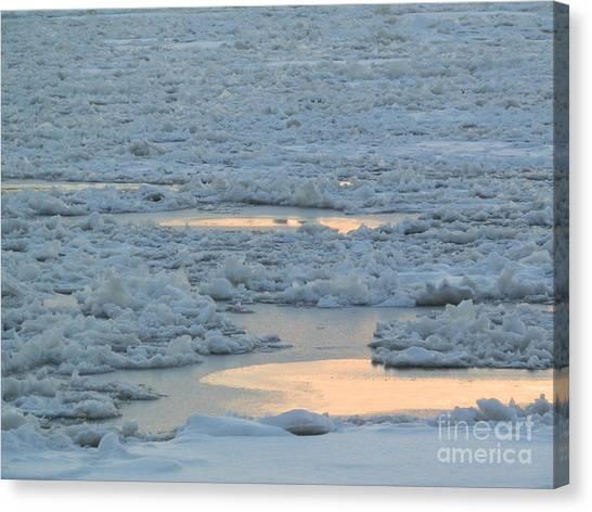 Russian Waterway Frozen Over Canvas Print