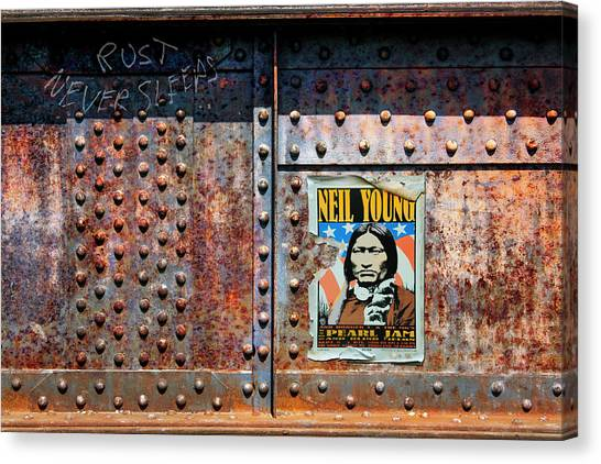 Pearl Jam Canvas Print - Rust Never Sleeps, Neil Young by Mal Bray