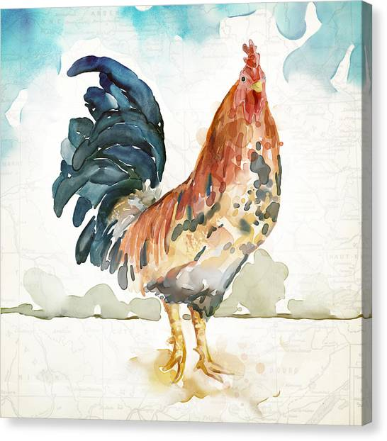 Chicken Canvas Print - Rust Rooster by Mauro DeVereaux