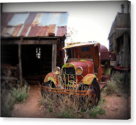 Rusty Truck Canvas Print - Rusted Classic by Perry Webster