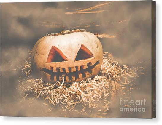 Soft Focus Canvas Print - Rustic Barn Pumpkin Head In Horror Fog by Jorgo Photography - Wall Art Gallery