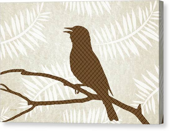 Woodland Canvas Print - Rustic Brown Bird Silhouette by Christina Rollo