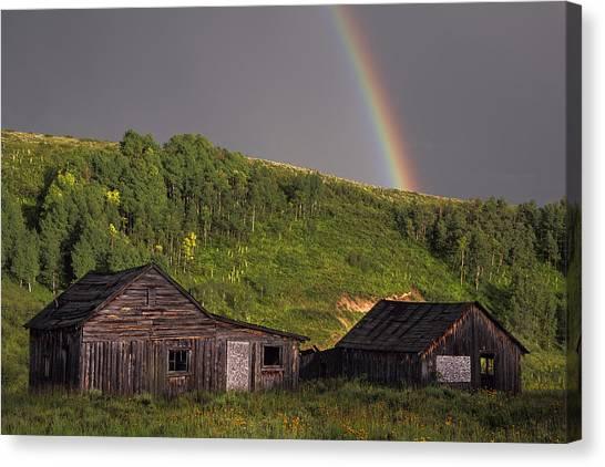 Rebirth Canvas Print - Rustic Cabin Rainbow by Dave Dilli