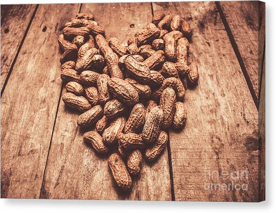 Heart Shape Canvas Print - Rustic Country Peanut Heart. Natural Foods by Jorgo Photography - Wall Art Gallery