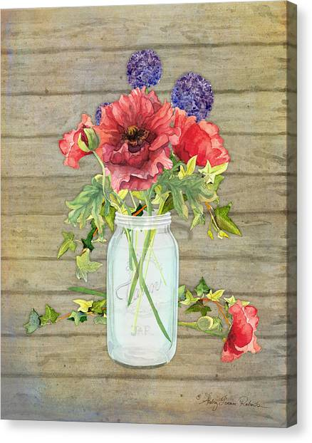 Rustic Canvas Print - Rustic Country Red Poppy W Alium N Ivy In A Mason Jar Bouquet On Wooden Fence by Audrey Jeanne Roberts