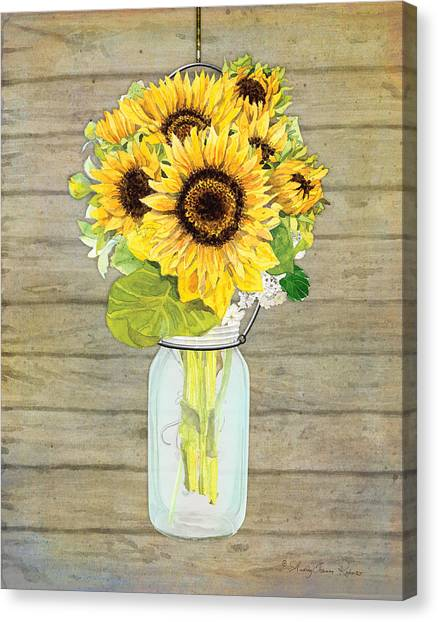 Sunflowers Canvas Print - Rustic Country Sunflowers In Mason Jar by Audrey Jeanne Roberts