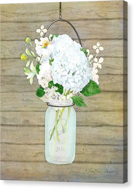 Rustic Country White Hydrangea N Matillija Poppy Mason Jar Bouquet On Wooden Fence Canvas Print