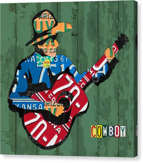Acoustic Guitars Canvas Print - Rustic Cowboy Playing Acoustic Guitar Recycled License Plate Art by Design Turnpike