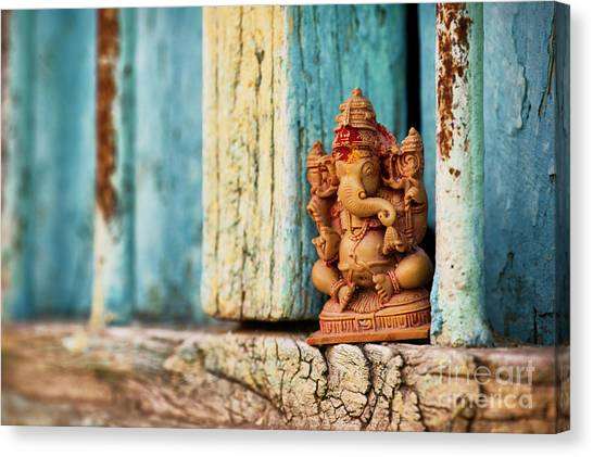 House Of Worship Canvas Print - Rustic Ganesha by Tim Gainey