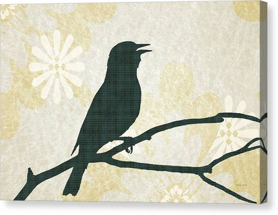 Woodland Canvas Print - Rustic Green Bird Silhouette by Christina Rollo