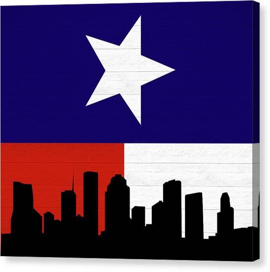 University Of Houston Canvas Print - Rustic Houston Skyline Texas Flag by Dan Sproul