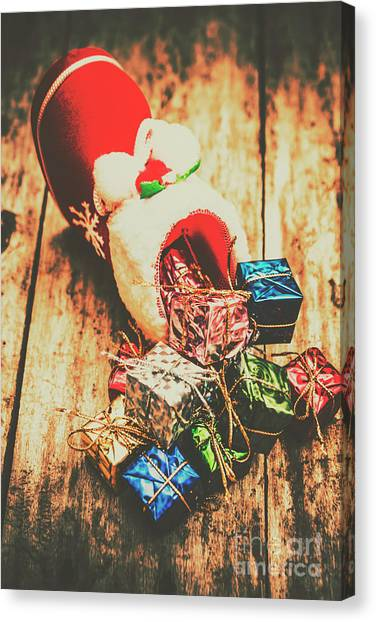 Present Canvas Print - Rustic Red Xmas Stocking by Jorgo Photography - Wall Art Gallery