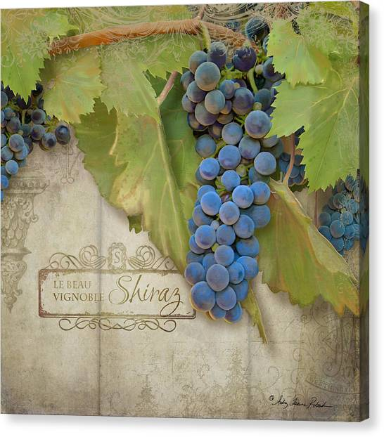 Printers Canvas Print - Rustic Vineyard - Shiraz Wine Grapes Over Stone by Audrey Jeanne Roberts