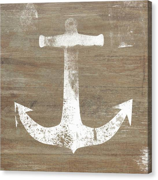 Farmhouse Canvas Print - Rustic White Anchor- Art By Linda Woods by Linda Woods