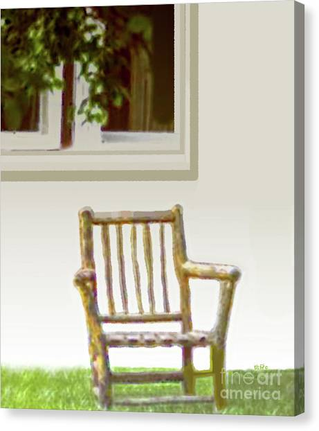 Rustic Wooden Rocking Chair Canvas Print