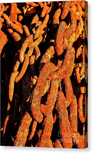 Chain Link Canvas Print - Rusting Chains In Warm Sunlight by Olivier Le Queinec