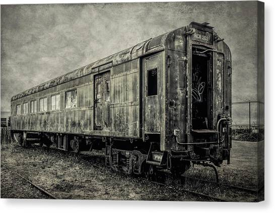 Stock Cars Canvas Print - Rusting Passenger Car Ft Bragg by Garry Gay