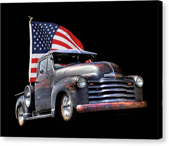American Independance Canvas Print - Rusty 1951 Chevy Truck With Us Flag by Gill Billington