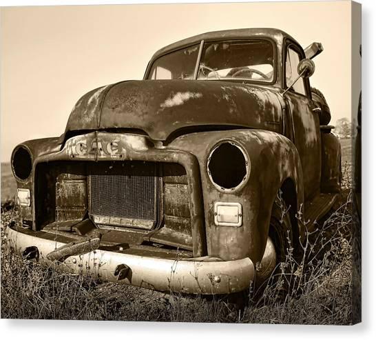 Rusty But Trusty Old Gmc Pickup Truck - Sepia Canvas Print