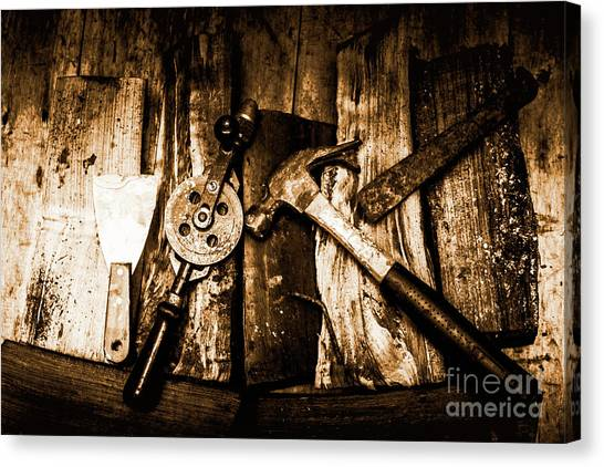 Tools Canvas Print - Rusty Old Hand Tools On Rustic Wooden Surface by Jorgo Photography - Wall Art Gallery