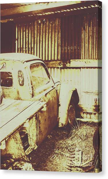 Derelict Canvas Print - Rusty Pickup Garage by Jorgo Photography - Wall Art Gallery