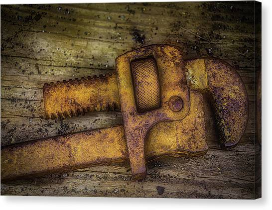 Wrenches Canvas Print - Rusty Pipe Wrench by Garry Gay