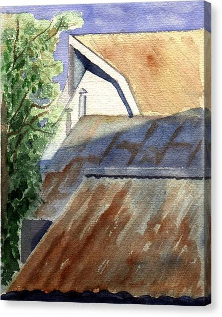 Rusty Roofs Canvas Print by Jane Croteau