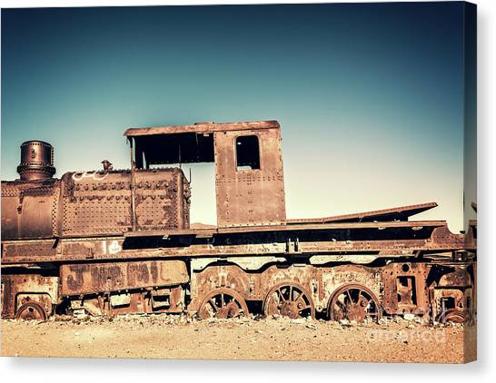 Andes Mountains Canvas Print - Rusty Train In Uyuni, Bolivia by Delphimages Photo Creations