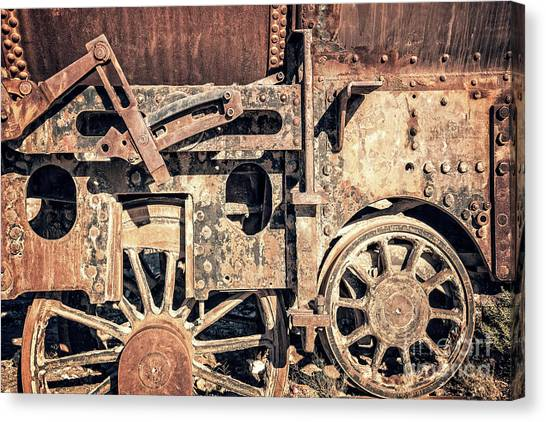 Andes Mountains Canvas Print - Rusty Train Wheels by Delphimages Photo Creations