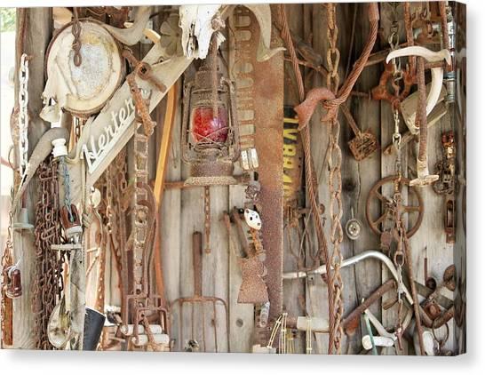 Timeworn Canvas Print - Rusty Treasures Photograph by Marnie Patchett