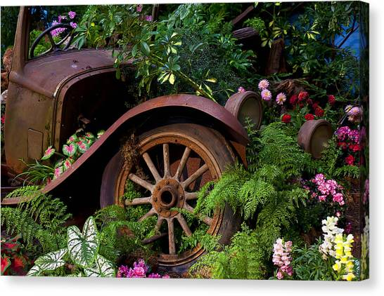 Junk Canvas Print - Rusty Truck In The Garden by Garry Gay