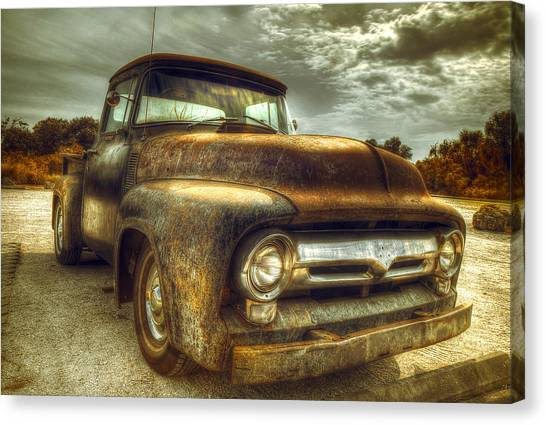 Ford Truck Canvas Print - Rusty Truck by Mal Bray