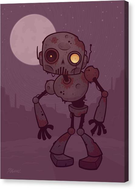 Droid Canvas Print - Rusty Zombie Robot by John Schwegel