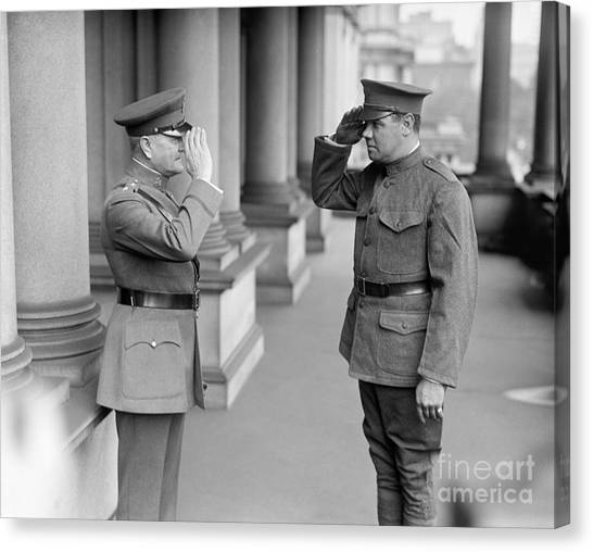 National Guard Canvas Print - Ruth & Pershing, 1924 by Granger