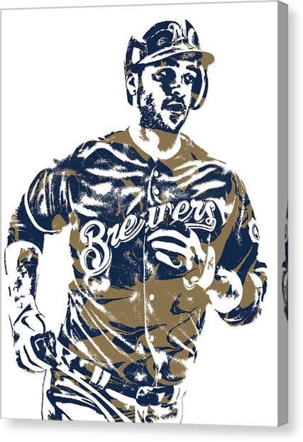 Milwaukee Brewers Canvas Print - Ryan Braun Milwaukee Brewers Pixel Art 6 by Joe Hamilton