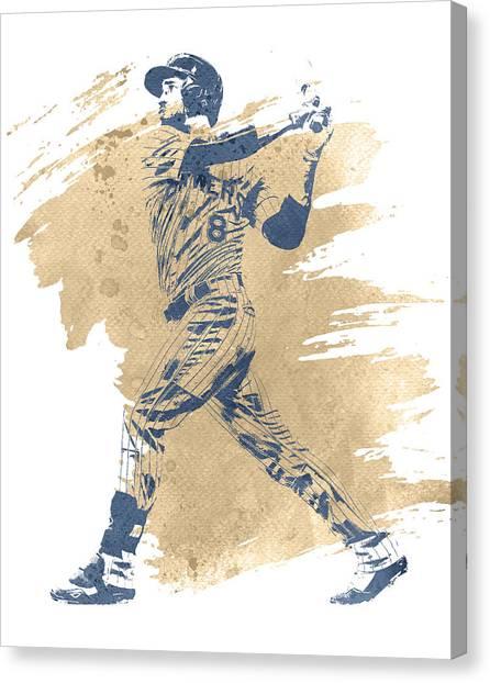 Milwaukee Brewers Canvas Print - Ryan Braun Milwaukee Brewers Water Color Art 1 by Joe Hamilton