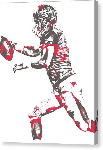 Tampa Bay Buccaneers Canvas Print - Ryan Fitzpatrick Tampa Bay Buccaneers Pixel Art 5 by Joe Hamilton