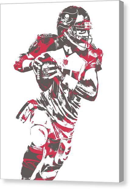 Tampa Bay Buccaneers Canvas Print - Ryan Fitzpatrick Tampa Bay Buccaneers Pixel Art 6 by Joe Hamilton