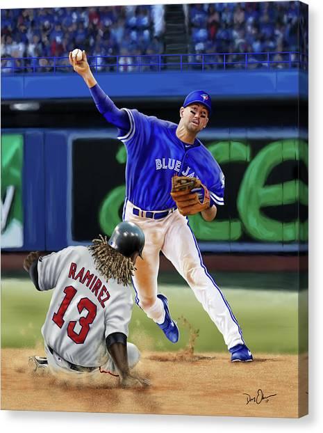 Toronto Blue Jays Canvas Print - Ryan Goins by Don Olea