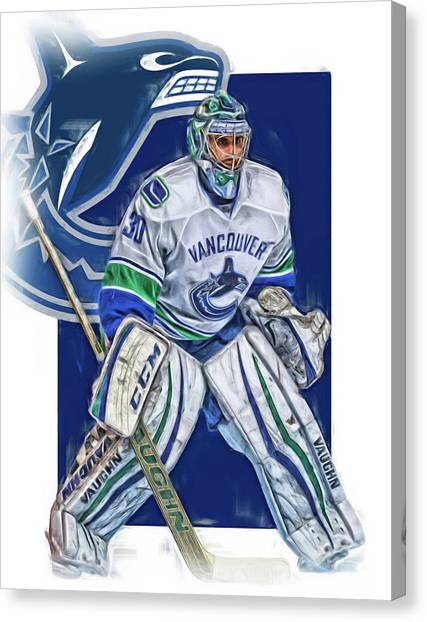Vancouver Canucks Canvas Print - Ryan Miller Vancouver Canucks Oil Art by Joe Hamilton