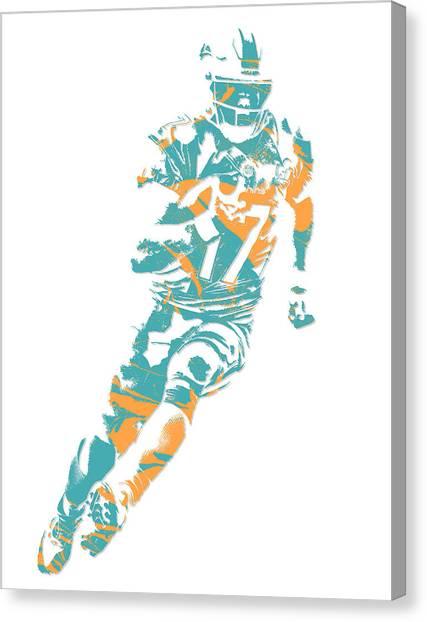 Miami Dolphins Canvas Print - Ryan Tannehill Miami Dolphins Pixel Art 4 by Joe Hamilton