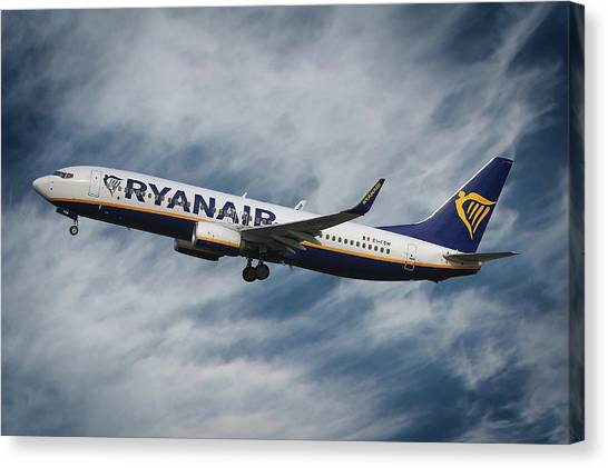 Madrid Canvas Print - Ryanair Boeing 737 by Smart Aviation
