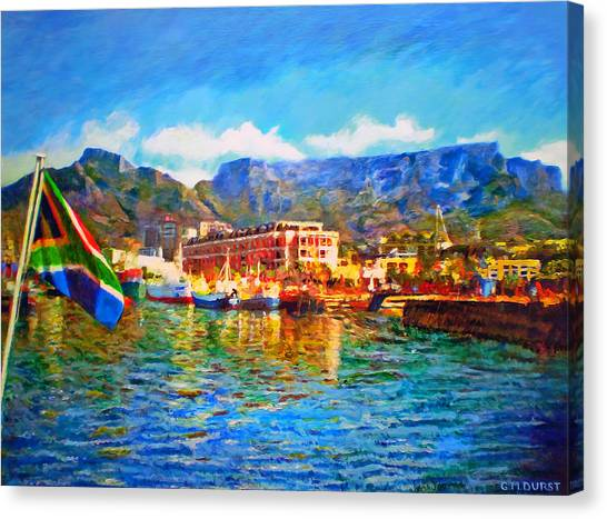 Cape Town Canvas Print - Sa Flag At The Waterfront by Michael Durst