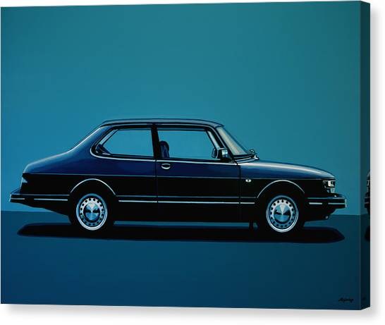 Swedish Canvas Print - Saab 90 1985 Painting by Paul Meijering