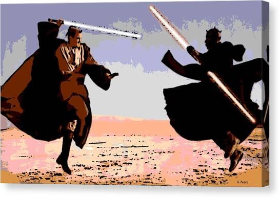 Obi-wan Kenobi Canvas Print - Saber Battle by George Pedro