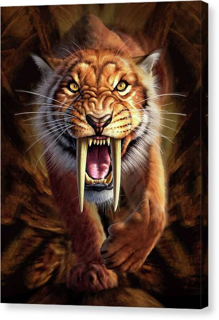 Prehistoric Canvas Print - Sabertooth by Jerry LoFaro